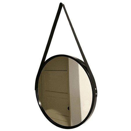 Espelho Redondo Decorativo Preto com Alça 45cm – FWB
