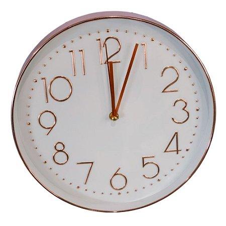 Relógio de Parede Rose e Branco 30 cm – INTERPONTE