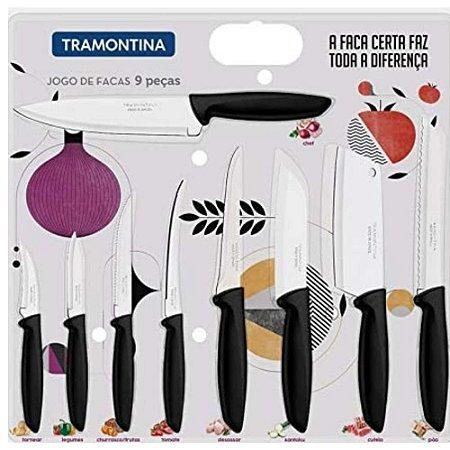 Jogo de facas Plenus Inox Tramontina 9 Peças preta