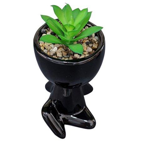 Vaso Decorativo Cerâmica Robert Plant Bob Preto 11 cm - FWB