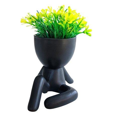 Vaso Decorativo Bob Preto Sentado com Planta 12 cm - AMIGOLD
