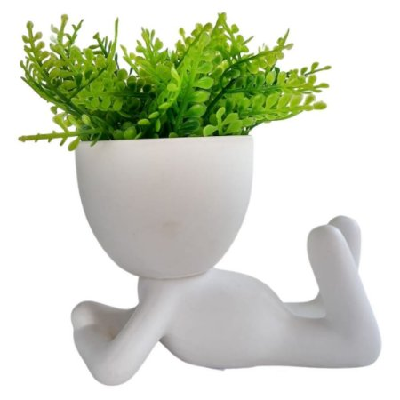 Vaso Decorativo Bob Branco Deitado com Planta 12cm - AMIGOLD