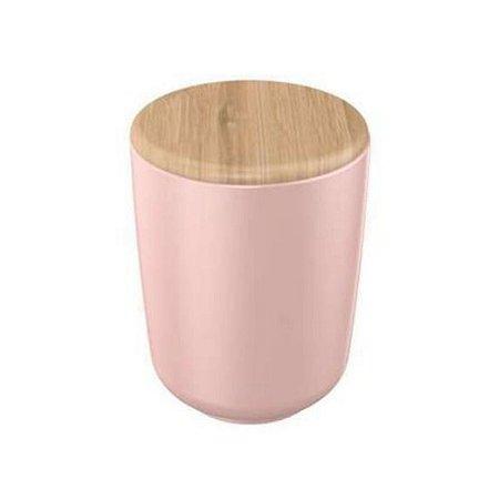Porta Algodão Cerâmica Rosa com Tampa Bambu 10 cm – YOI