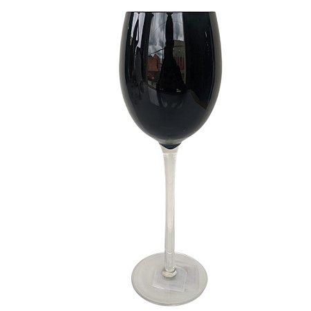Jogo de 6 Taças p/Vinho em Vidro Preta 340ml - Rojemac