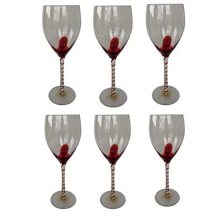 Jogo de 6 Taças p/Vinho  em Vidro detalhe vermelho-400ml