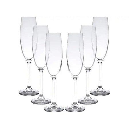 Jogo de 6 Taças em Vidro p/Champagne Colibri 220ml - Rojemac