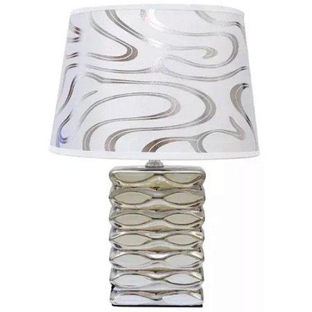 Abajur Decorativo em Cerâmica 31cm Prata - Interponte