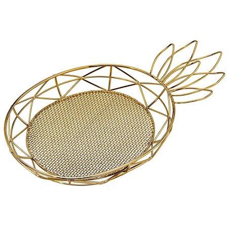 Bandeja Abacaxi em Metal Vazado 36 cm Dourado