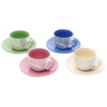 Jogo de 4 Xícaras em Porcelana para Chá c/Pires Times 200ml