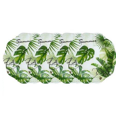 Jogo de 4 Pratos de Sobremesa em Vidro 20cm Folhagem Verde