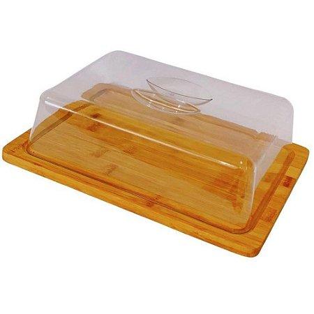 Porta bolo em Bambu com tampa 24 cm -Wincy