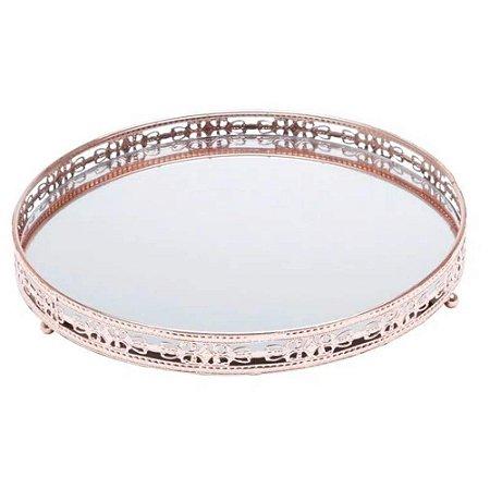 Bandeja bronze em metal com espelho 25 cm