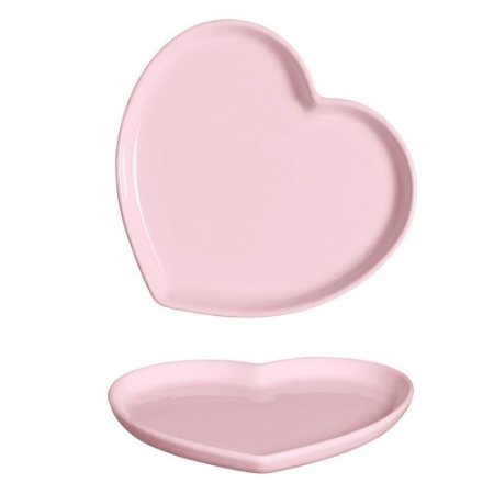 Prato Coração em Cerâmica 25x28 cm Rosa – Silveira