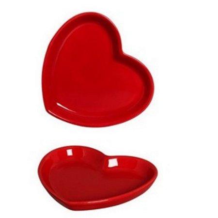 Prato Coração em Cerâmica 11x13 cm Vermelho – Silveira
