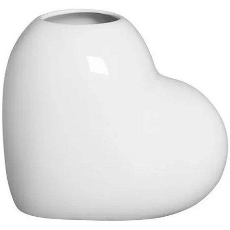 Vaso Decorativo de Coração em Cerâmica 16cm Branco –Silveira