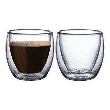Dupla De Copos em Vidro Duplo Para Café  90ml - FULL FIT