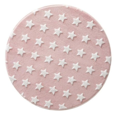 Tapete Rosa Redondo com Estrela Branca 100cm - Jolitex