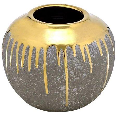Vaso Decorativo em Cerâmica Yasmin 19cm Cinza - Mabruk