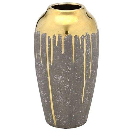 Vaso Decorativo Alto em Cerâmica Yasmin 30cm Cinza - Mabruk