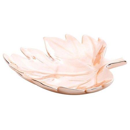 Prato Decorativo em Cerâmica Cromado Folha 29cm Rose Gold