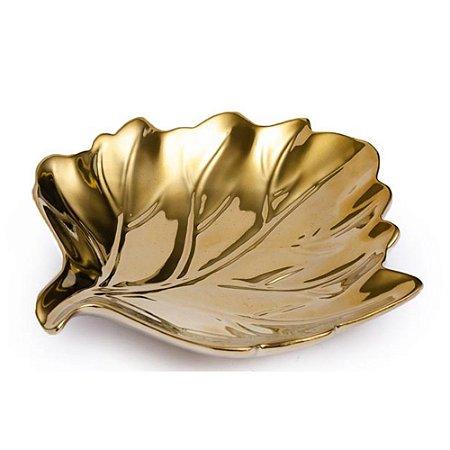 Prato Decorativo em Cerâmica Cromada Folha 29 cm Dourado