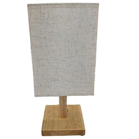 Abajur em Madeira c/Tecido 33 cm Branco Bivolt - FWB