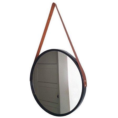 Espelho Redondo Decorativo Preto com Alça Marrom 60cm - FWB