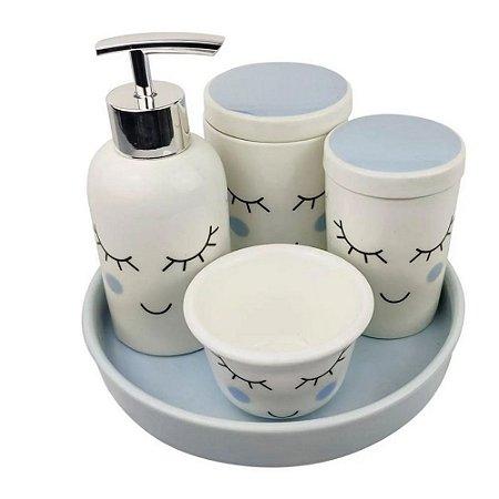 Kit Higiene em Porcelana 5 Peças Infantil  Azul e Branco