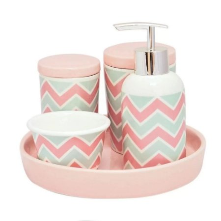 Kit Higiene em Porcelana 5 Peças Infantil Rosa com Verde