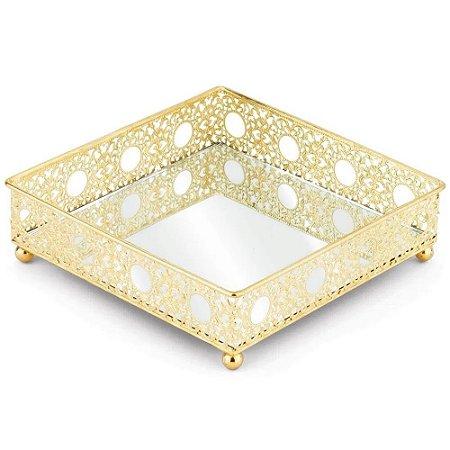 Bandeja Luxo Inglesa 16 cm em metal Dourada  com espelho