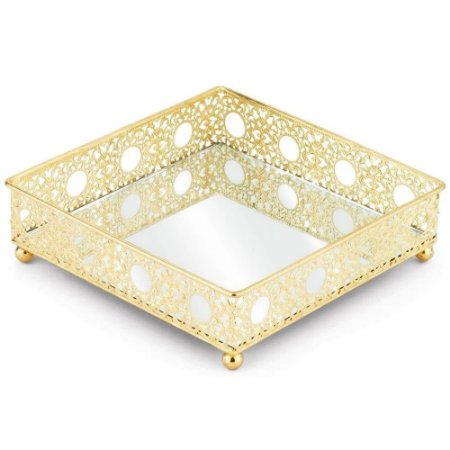Bandeja Luxo 31 cm Dourada em metal com espelho  - JOLITEX