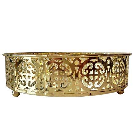 Bandeja Belga 17,5 cm Dourada em metal com espelho  - JOLITEX