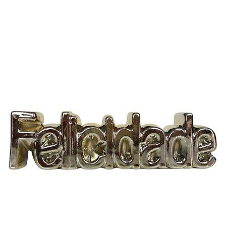 Enfeite Decorativo Felicidade Dourada Cerâmica- INTERPONTE