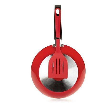 Frigideira com Espátula 20 cm em Alumínio Vermelha-Multifon