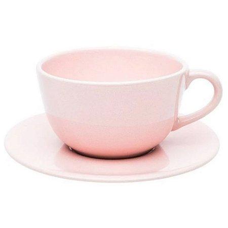 Conjunto para Chá com 12 Peças em Porcelana Ø14cm Rosa 220ml
