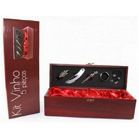 Kit para Vinho 5 Peças com Estojo em Madeira 36cm Vermelho