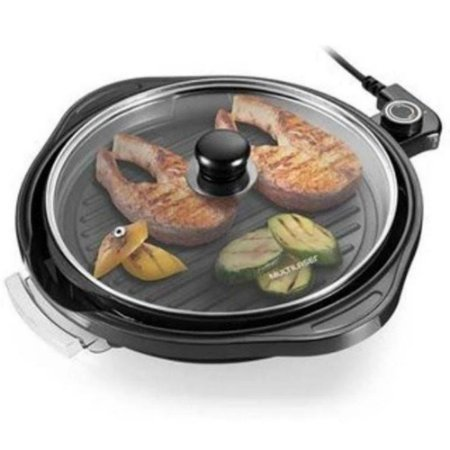 Panela Grill Gourmet Multifuncional Antiaderente 1200W Preta