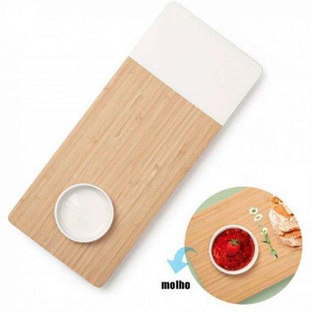 Tábua Cortar Carne Bambu Detalhe Branco Recipiente - Mor