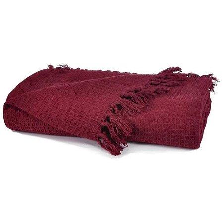 Manta Favo Tessi Bordô em 100% Algodão 1,60x2,20m Vermelho