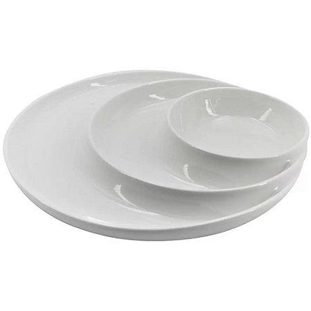 Petisqueira Redonda c/3 Divisórias em Porcelana 25cm Branca