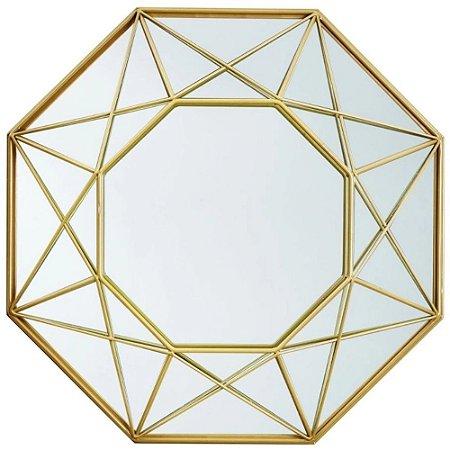 Espelho Dourado Octogonal Em Metal 36x36x5 - Mart