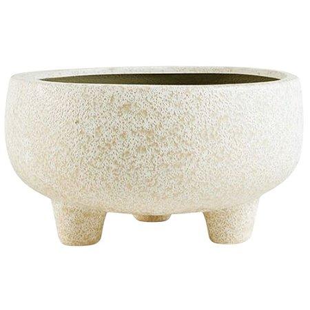 Cachepot em Cerâmica Bege Grande com Pé 20x20x11,5 - Mart