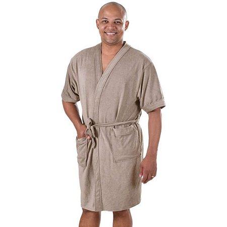 Roupão de Banho Adulto Felpudo Masculino em Algodão P Bege