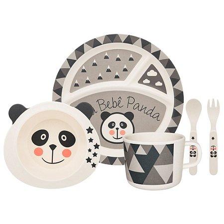 Conjunto Refeição Infantil Panda com 5 Peças Cinza - Oxford