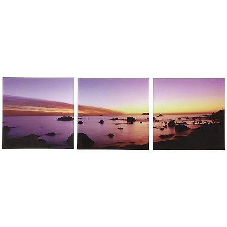 Conjunto 3 Quadros de Vidro Luxo Paisagem Sunset - Jolitex