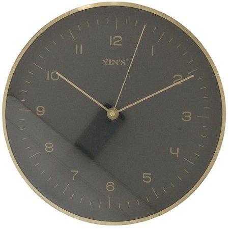 Relógio de Parede Redondo Liso Preto e Dourado - Imporiente