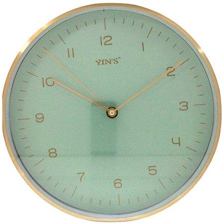 Relógio de Parede Dourado e Verde Redondo 24 cm - Imporiente