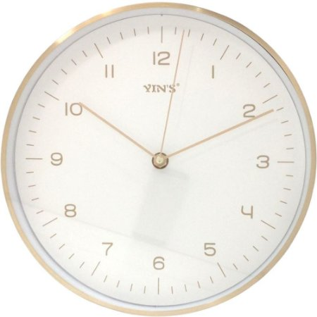 Relógio de Parede Dourado com Branco Redondo - Imporiente