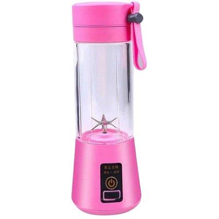 Mini Liquidificador Portátil Recarregável 380ml Rosa