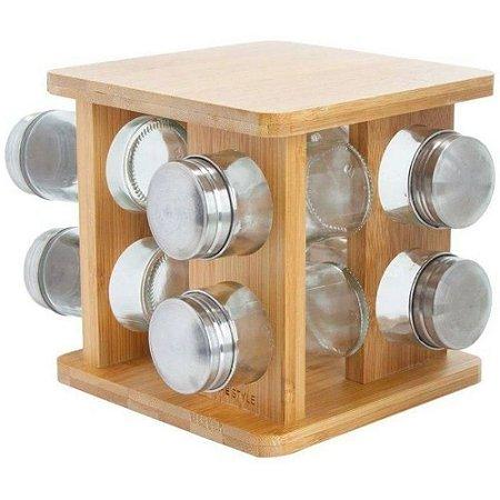 Porta Condimento Giratório em Bambu com 8 Peças -Mimo Style